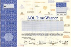 AOL Time Warner (Rare Specimen) with Gerald Levin and Steve Case as Officers - (Time Warner shareholders lost $200 Billion in value) - Delaware 2001