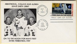 Apollo 11 Man on the Moon Landing First Day of Issue stamped envelope - 1969