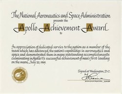 Apollo Achievement Award commemorating Man's landing on the Moon - Washington D.C. 1969