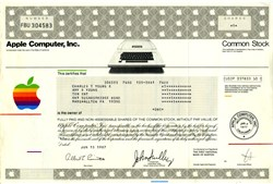 Apple Computer, Inc. (First Certificate Type with Apple II) with John Scully as President- California 1987