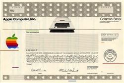 Apple Computer, Inc. IPO Specimen Certificate (Rare Apple II Computer Vignette)  with  Company's First President, Michael M. Smith - California