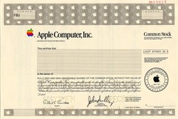 Apple Computer, Inc. (Rare Specimen)  with John Sculley as CEO  - California 1988