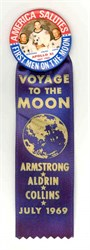 Apollo XI July 1969 Button and Ribbon (Picture of Neil Armstrong, Collins & Aldrin)