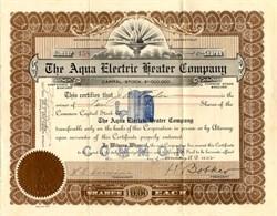 Aqua Electric Heater Company - Connecticut 1922
