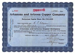 Arkansas and Arizona Copper Company 1916