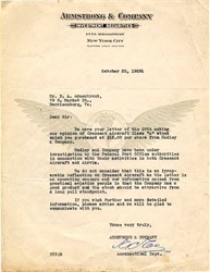 Armstrong & Company Investment Securities Letter regarding Crescent Aircraft and Airvia - New York 1929