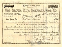 Arctic King Refrigerator Company - Linfield, Montegomery County, Pennsylvania 1891
