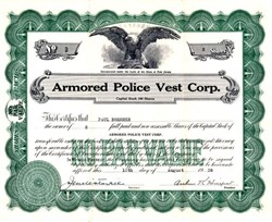 Armored Police Vest Corp. - New Jersey 1936
