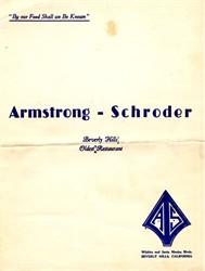Armstrong - Schroder Restaurant Menu - Beverly Hills, California - 1940's