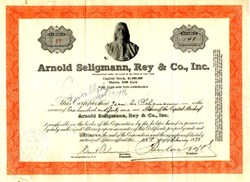 Arnold Seligmann, Rey & Co. RARE Stock Certificate issued to and signed by Jean A. Seligmann, famous Jewish art dealer, who was shot by the Nazis during WWII to steal his art inventory - 1935