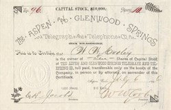 Aspen and Glenwood Springs Telegraph and Telephone Company - Colorado 1886