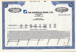 Ashikaga Bank, LTD. ( World Trade Center Address) $1,000,000 Bond Certificate  - New York 1990