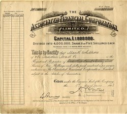 Associated Financial Corporation - England 1903