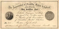 Association of Franklin Medal Scholars 1857 - Signed by Hon. Edward Everett