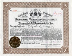Associated Members Organization affiliated with the  Associated Pharmacists, Inc. - Certificate of Membership - 1918