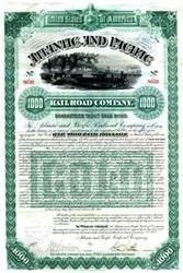 Atlantic and Pacific Railroad Company $1000 Gold Bond - New York 1887