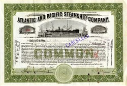 Atlantic and Pacific Steamship Company signed by Joseph. P. Grace  of W. R. Grace and Co. - Maine 1916