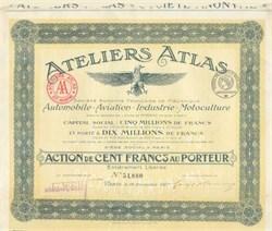 Ateliers Atlas - Automobile - Aviation - Industrie - Motoculture 1917