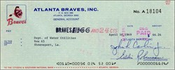 Atlanta Braves Check 1969
