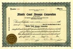 Atlantic Coast Airways Corporation of Delaware (Offered Talkie Movies on its Seaplane Flights)  - 1929