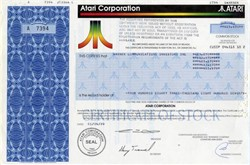 Atari Corporation - Issued to Warner Communications Investors, Inc. for 483,870 Shares in Atari Acquisition (RARE) - 1989