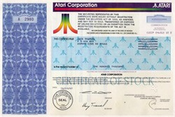 Atari Corporation Non Public Stock issued to Jack Tramiel 100,000 Shares ( Tramiel founded Commodore, built Atari, and survived Auschwitz)