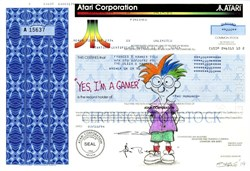 "Authentic Atari Corporation Stock Certificate with Original Drawing by Award Winning Artist, Robert Byrne "" Yes, I'm a gamer """