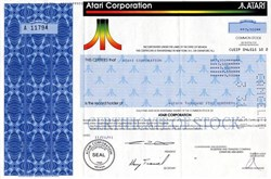 Atari Corporation stock certificate with original game catalog - 1991