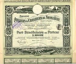 Ateliers & Chantiers De Nicolaieff - Paris, France 1911