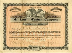 """At Last"" Washing Machine Company - Perry, Iowa 1911"