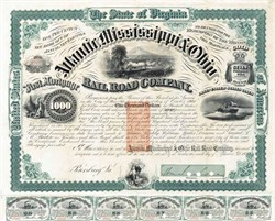 Atlantic Mississippi and Ohio Rail Road Co $1,000 Gold Bond signed by General William Mahone - 1871