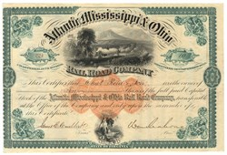 Atlantic, Mississippi & Ohio Railroad Stock Signed By Confederate General William Mahone - Virginia 1883