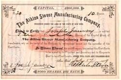 Atkins Stover Manufacturing Company - New York 1889