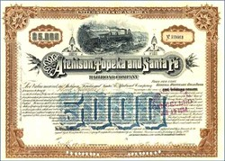 Atchison, Topeka and Santa Fe Railroad Company 1889 - $5,000 Gold Bond