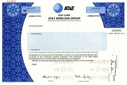 AT&T Wireless Services, Inc. (Rare Specimen IPO Stock Certificate) - Formally McCaw Cellular - New York 2000