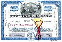 "Authentic Reading Company Stock Certificate with Original Drawing of  Donald Trump by Award Winning Artist, Robert Byrne "" I Can't Read Anyway ""  Handsigned by artist, Robert Byrne."