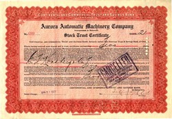 Aurora Automatic Machinery Company (Thor Motorcycle Maker)  - Delaware 1917