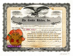 "Authentic Cookie Kitchen, Inc. Stock Certificate with Original Drawing of Girl Holding Pot Cookies  by Award Winning Artist, Robert Byrne "" I Dare You ""  Handsigned by artist, Robert Byrne."