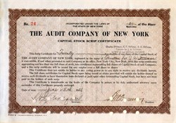 Audit Company of New York (Became part of Price Waterhouse) -  1928