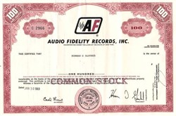 Audio Fidelity Records, Inc.(Made first stereo two-channel records) - New York