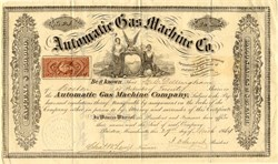 Automatic Gas Machine Co. (Illuminating Device Maker) - Boston, Massachusetts 1864