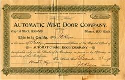 Automatic Mine Door Company - Indiana 1896