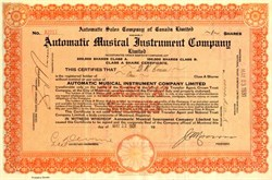 Automatic Musical Instrument Company AMI - (Early Jukebox Maker ) - Montreal, Canada  1931