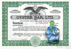 "Authentic Oyster Bar, Ltd Stock Certificate with Original Drawing by Award Winning Artist, Robert Byrne "" I Feel Sick"""