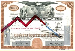 "Authentic Pan American Stock Certificate with Original Drawing by Award Winning Artist, Robert Byrne "" Wall Street, I think we have a problem"""