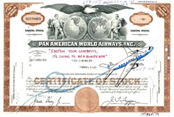 "Authentic Pan American World Airways Stock Certificate with Original Drawing by Award Winning Artist, Robert Byrne "" Fasten Your Seatbelts, It's Going to be a Bumpy Ride ""  Handsigned by artist, Robert Byrne."