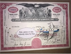 """Authentic Pan American World Airways Stock Certificate with Original Drawing by Award Winning Artist, Robert Byrne """" Gas, grass or ass, nobody rides for free  """"  Handsigned by artist, Robert Byrne."""