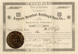 Augusta Perpetual Building & Loan Co. - Staunton, Virginia 1890