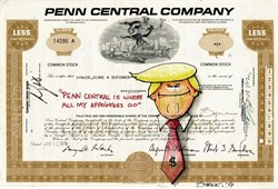 "Authentic Penn Central Company Stock Certificate with Original Drawing of  Donald Trump by Award Winning Artist, Robert Byrne "" Penn Central is Where All of My Appointees Go """