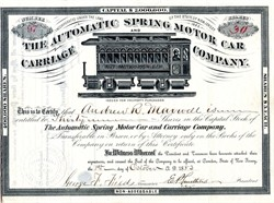 Automatic Spring Motor Car and Carriage Company (Spring powered railroad car) - New Jersey 1883